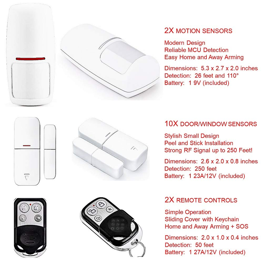 Smart Wi-Fi Alarm System Deluxe Kit with Wireless Door/Window Sensors, Motion Detectors, Remotes and Smartphone Control - Easy DIY Home Security with ...