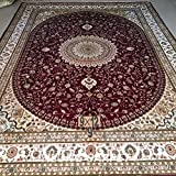 Yilong 9 x12  Handmade Persian Silk Rugs Antique Nain Floral Medallion with Shah Abbassi Hand Knotted Home Carpet...
