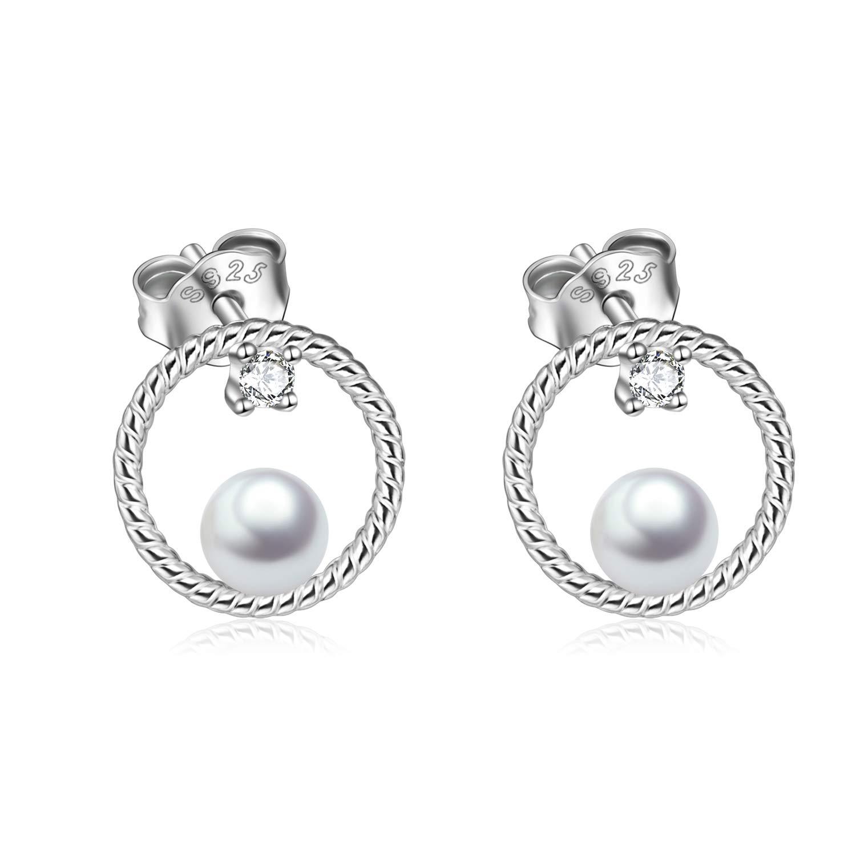 Circle Stud Earrings Sterling Silver Pearl Hoops Rope Circle Ear Studs for Women Girls (Circle Stud Earrings)