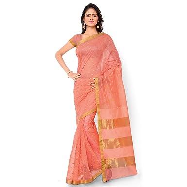 e7a149d195 Bhelpuri Cotton Saree (Adm-Sr-Snh9-10182_Peach): Amazon.in: Clothing &  Accessories
