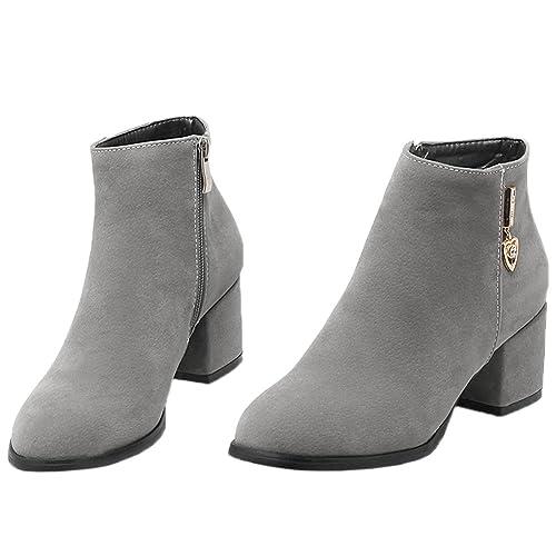 HooH Mujer Botines Gamuza Tacón de Gatito Diamante de imitación Short Chelsea Botas: Amazon.es: Zapatos y complementos