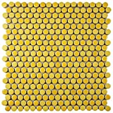 SomerTile FSHCOMYL Juno Penny Round Porcelain Floor and Wall Tile, 11.25'' x 11.75'', Yellow