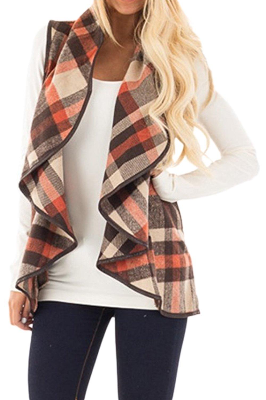 Women Vintage Plaid Wide Lapel Cardigan Waistcoat Vest Outerwear Brown L