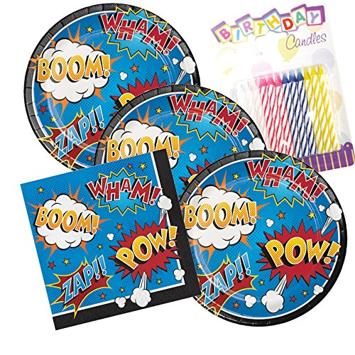 JJ Party Supplies Super Hero Slogans Theme Plates and Napkins Serves 16 With Birthday Candles
