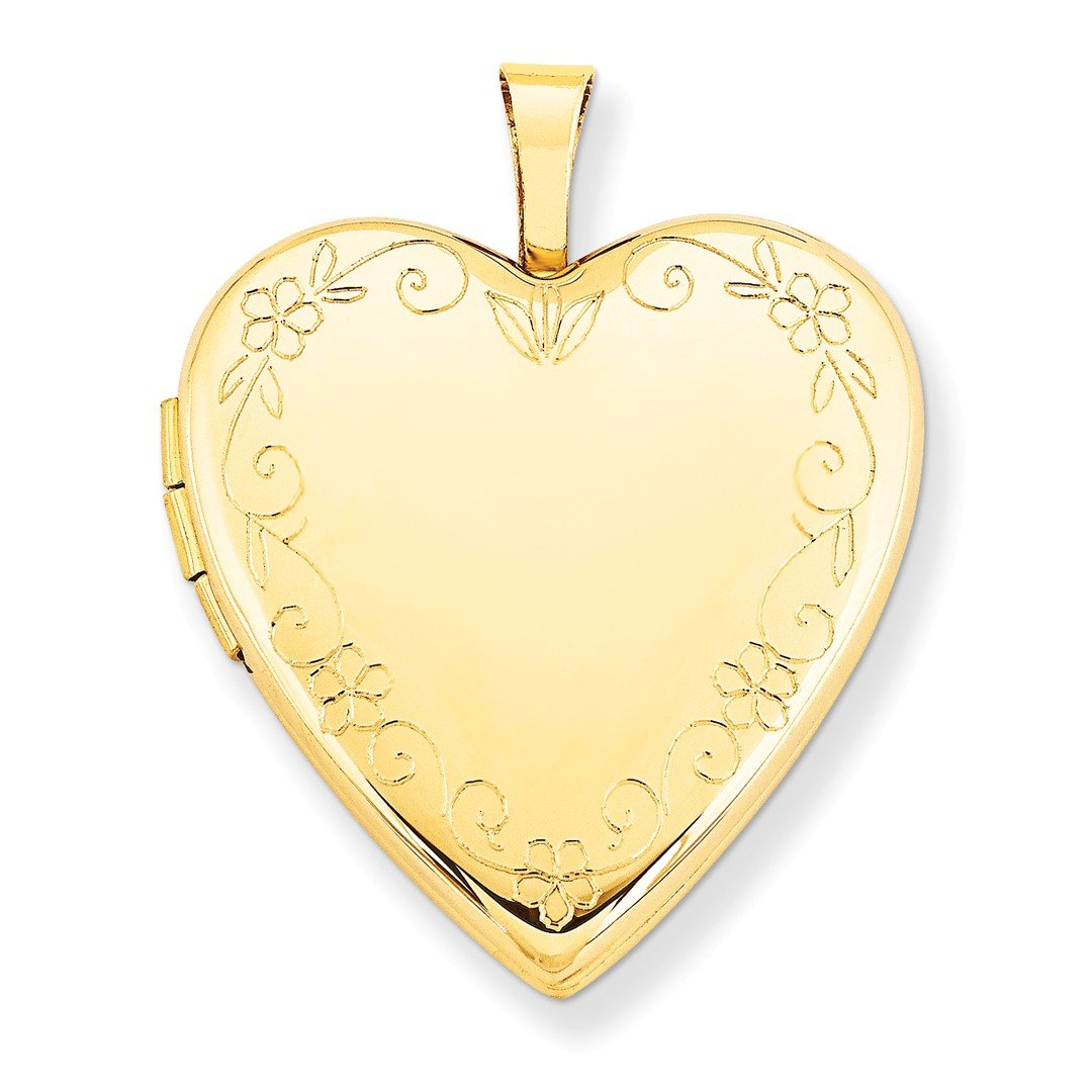 ICE CARATS 14k Yellow Gold 20mm Flower Vine Border Heart Photo Pendant Charm Locket Chain Necklace That Holds Pictures Fine Jewelry Ideal Mothers Day Gifts For Mom Women Gift Set From Heart