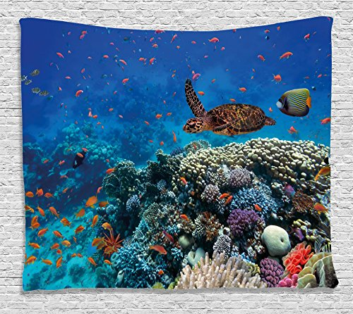 Exotic Tapestry - Ambesonne Ocean Decor Tapestry, Exotic Fish and Turtle in Fresh Water on Stony Corals Bio Diversity Wild Life Photo, Wall Hanging for Bedroom Living Room Dorm, 60 W X 40 L inches, Multi