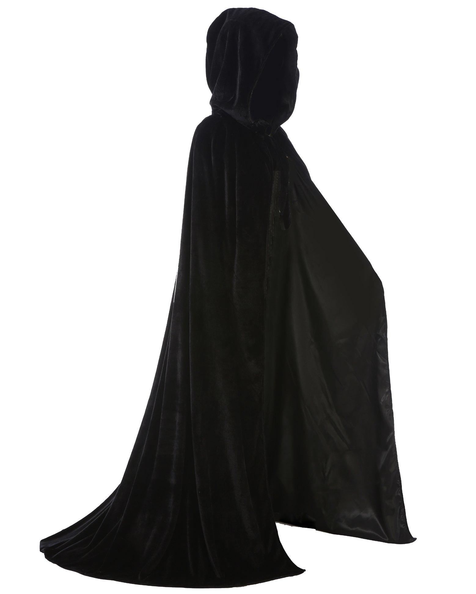 LuckyMjmy Velvet Renaissance Medieval Wedding Cloak Cape Lined with Satin (Small, Black)
