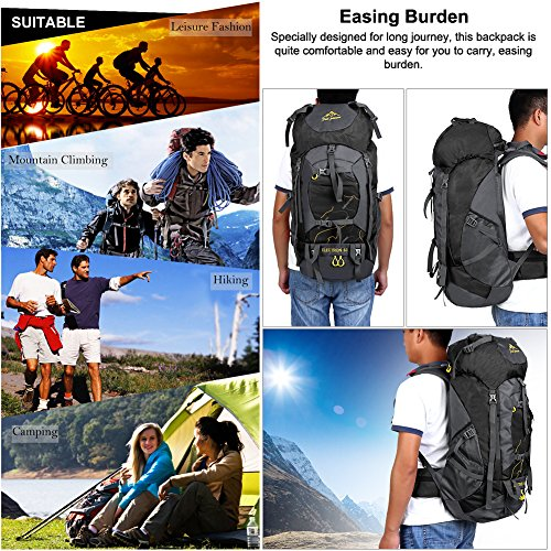 Vbiger 60L Outdoor Backpack Waterproof Backpacking Pack Travel Daypack for Climbing, Hiking, Trekking, Mountaineering, with Rain Cover (Black) by VBIGER (Image #8)