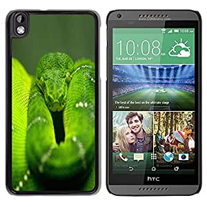 TopCaseStore / la caja del caucho duro de la cubierta de protección de la piel - Snake Green Nature Rainforest Reptile Tail - HTC DESIRE 816