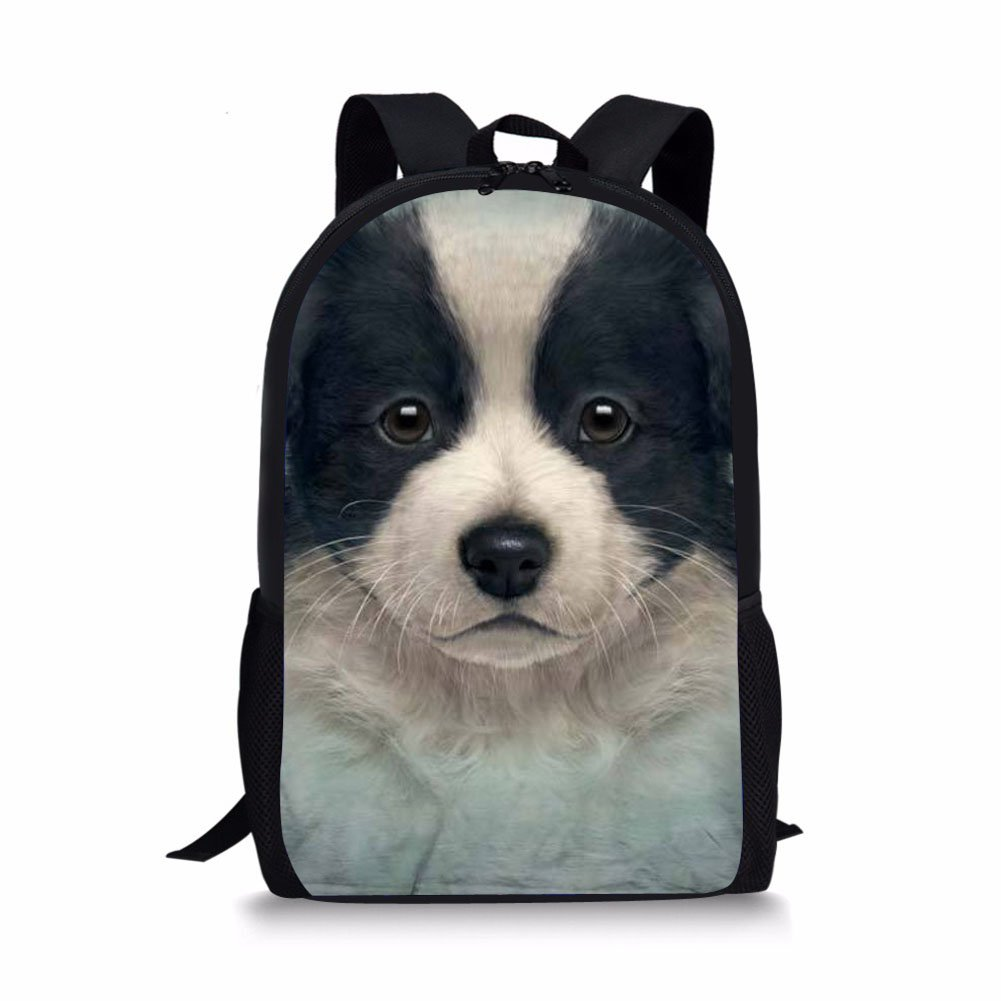 b4b983b041c8 HUGS IDEA Cute Dog Face Children School Backpack Fashion School Shoulder  Bag for Teenagers Boys Girls