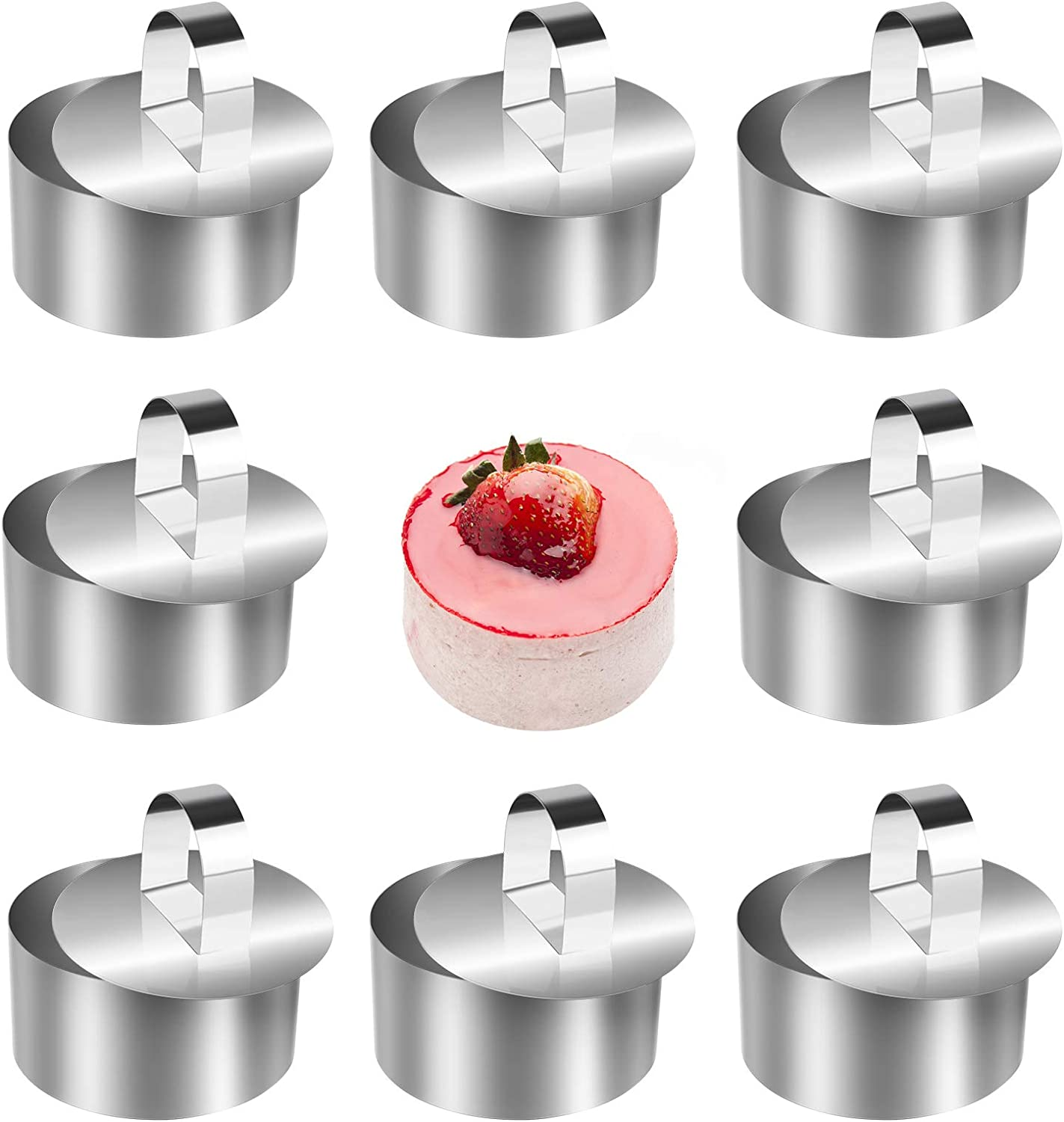 KKUYT Stainless Steel Small Cake Rings, 8 Pcs Round Muffin Pastry Rings Mousse Cake Mold for Baking, 3.15