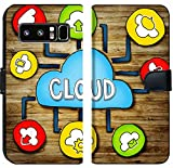Luxlady Samsung Galaxy Note 8 Flip Fabric Wallet Case IMAGE ID: 34402076 Aerial View of People and Cloud Computing Concepts