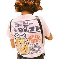 SSJ Japanese Drink Print T-Shirt Strawberry Milk MAMEPIYO rogo Color for Pink