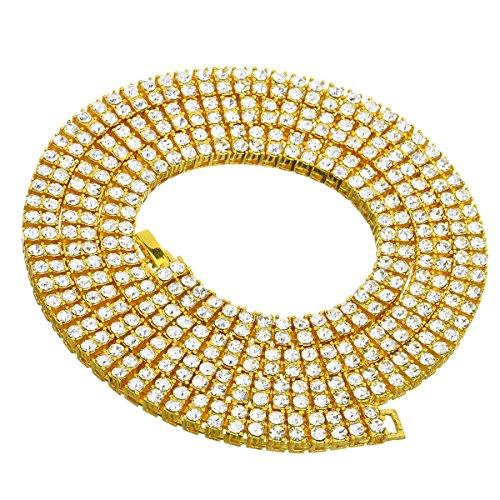 Powerful Mens Necklace 2 Row Diamond Hip-Hop Tone Necklace Chain 20