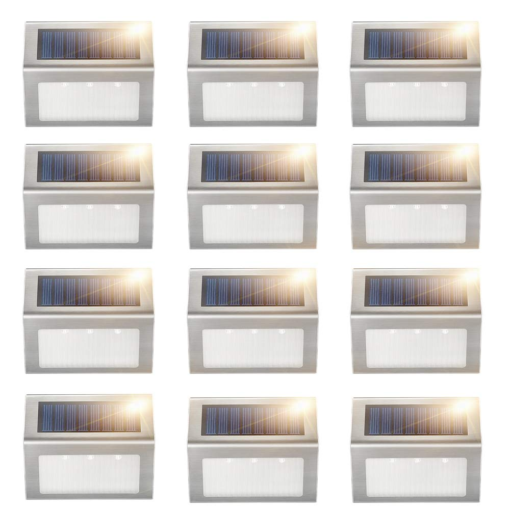 Solar Deck Lights, KASUN Super Bright LED Walkway Light Stainless Steel Waterproof Outdoor Security Lamps for Patio Stairs Garden Pathway (Yellow Light - 12PCS)