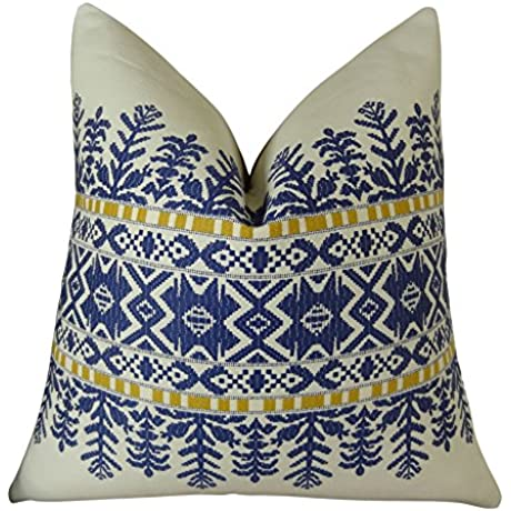 Plutus Brands Plutus Aztec City Handmade Throw Pillow 20 X 30 Queen Blue White
