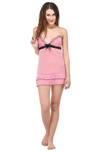 3d9d1e007f StylEra 145 Sexy Honeymoon Lingerie for Women Ladies and Girls Nightwear  Super Soft Net Babydoll Dress Sleepwear Naughty Bold Bridal Wear (Pink)   Amazon.in  ...