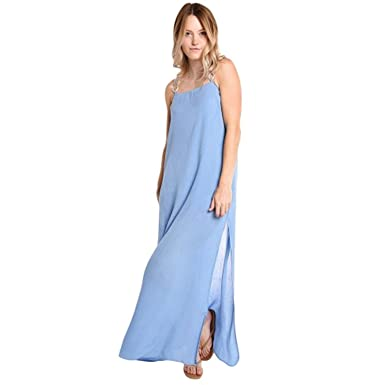 eab2010bc21 Image Unavailable. Image not available for. Color  Solid   Striped Womens  Calico Maxi Dress ...