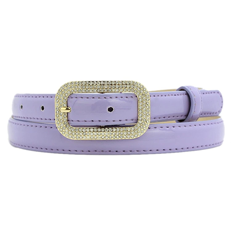 Women New Studded Crystal Pin Buckle Skinny Pu Leather Waistband Waist Belts