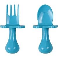 Babyware Made in USA First Self Feeding Spoon Fork Utensil Set for Baby Led Weaning and Toddlers BPA Free (Blue)