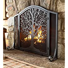 Small Tree of Life Metal Fireplace Screen with Single Hinged Door, Free Standing Spark Guard, 38 W x 31 H x 11.5 D, Black and Gold Flecked