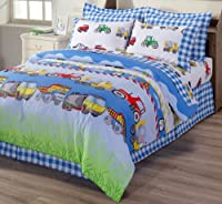 Chezmoi Collection 4-Piece Truck Tractor School Bus Police Car Reversible Duvet Cover Set, Queen