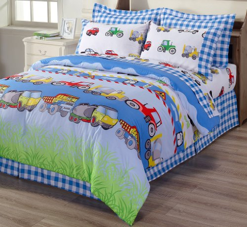 Chezmoi Collection 3-Piece Truck Tractor School Bus Police Car Reversible Duvet Cover Set, Twin