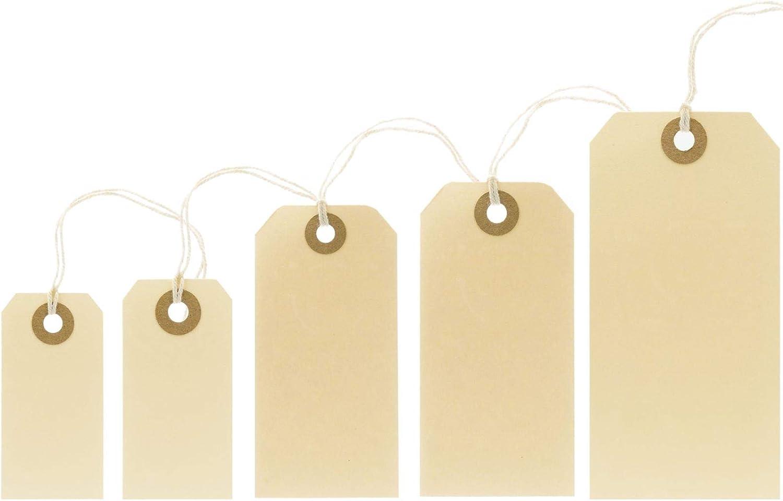 70x35mm PB-Onlinehandel 1.000 Manila-Etiketten H/ängeetiketten mit Faden beige-braun