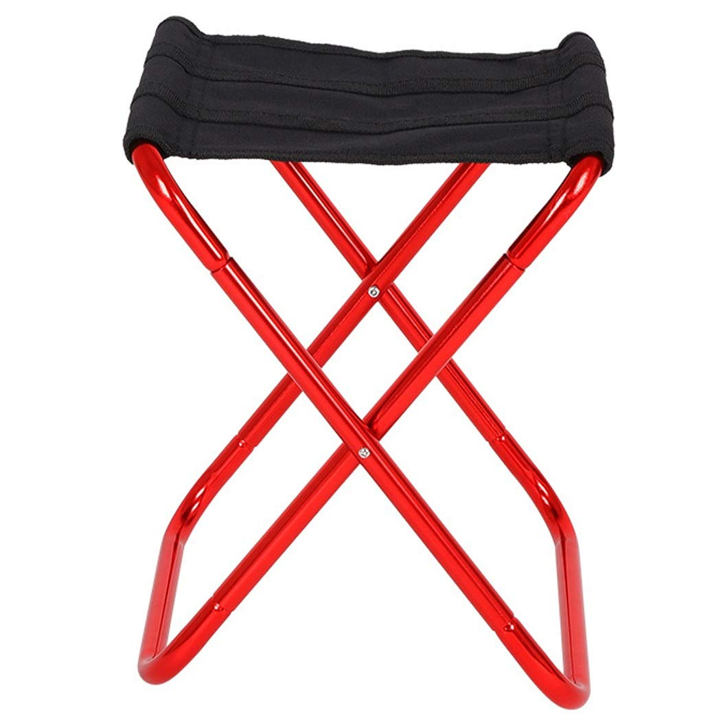Folding Chair Outdoor Portable Aluminum Folding Stool Mini Camping Chair Small Maza Leisure Fishing Stool Chair (Color : Red, Size : 22.527cm)