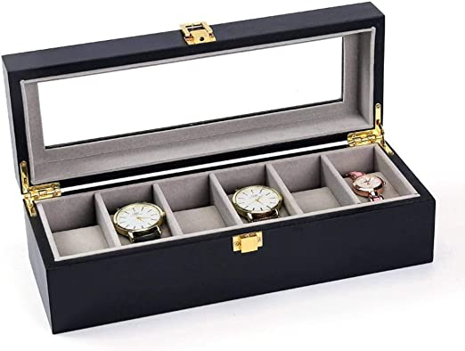 GOVD Caja Relojes Mujer Madera Exhibición de Relojes Caja Vitrina ...