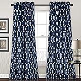 Lush Decor 16T000698 Rope Knot Room Darkening Window Panel Curtain Set, 84″ x 52″ + 2″ Header, Navy