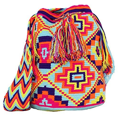 Jime Hand Woven Shoulder Bag, Ethnic Traditional Wayuu Mochila, Cotton, Crochet