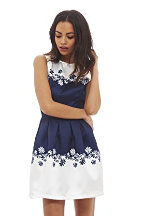 AX Paris Womens Floral Printed Prom Skater Dress(Navy, ...