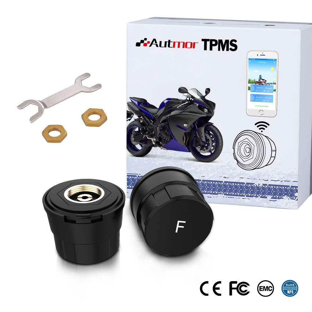 Autmor Bluetooth TPMS Reifendruckkontrollsystem Motorrad Reifendruckmesser mit App MotorCare unterstü tzt iOS/Android