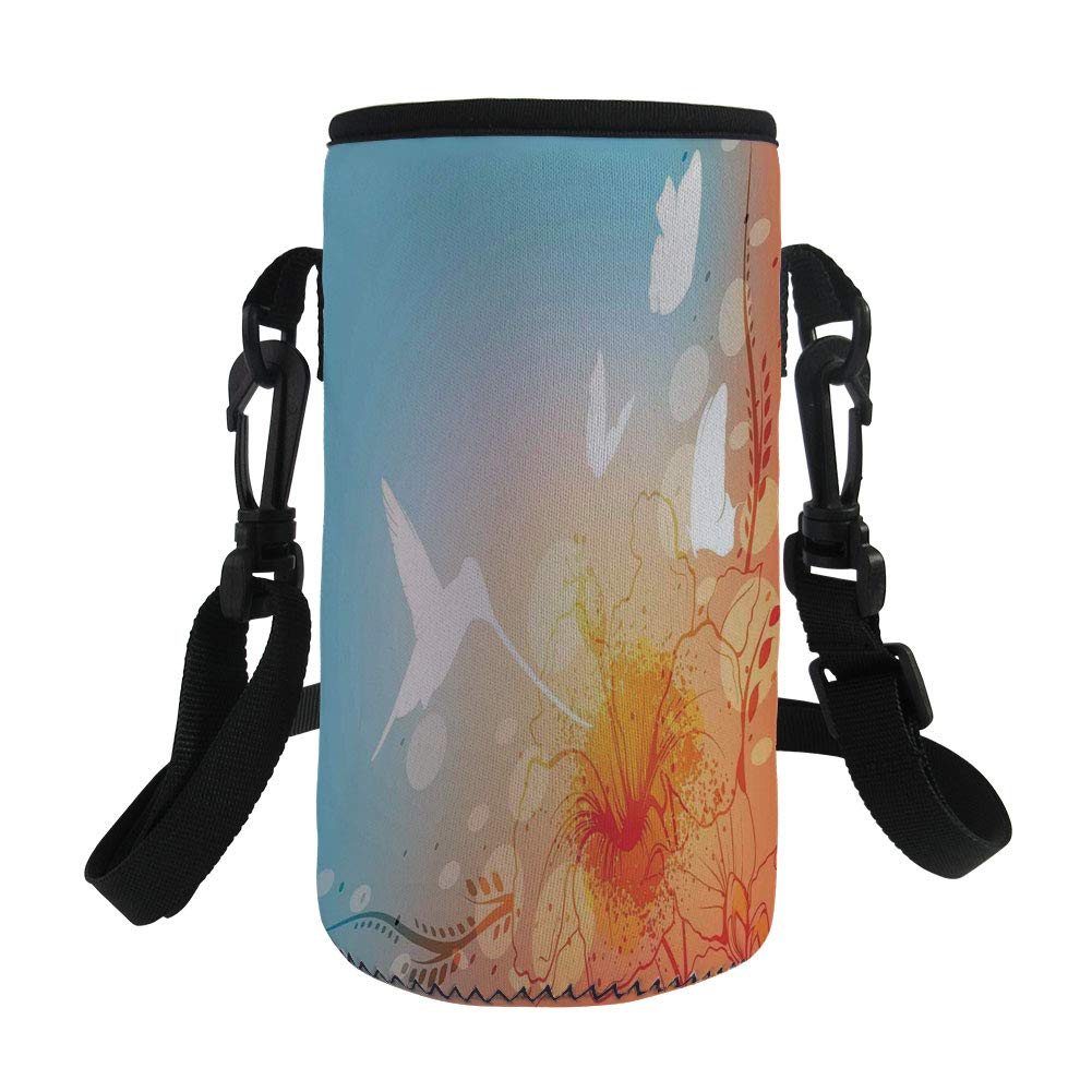 Small Water Bottle Sleeve Neoprene Bottle Cover,Hummingbirds Decorations,Hummingbird and Butterflies Silhouettes Flowers Fun Summertime Garden,,Great for Stainless Steel and Plastic/Glass Bottles, Spo