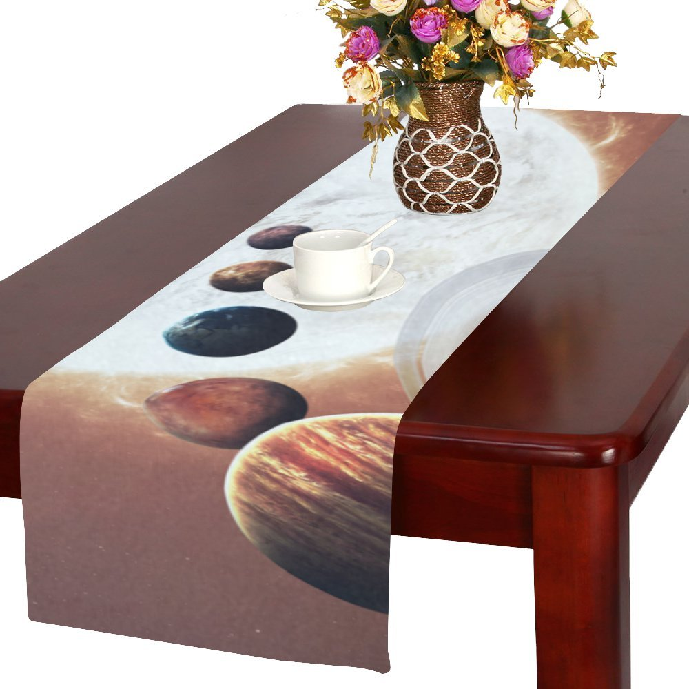 your-fantasia Ninth planet of the Solar System Opened Cotton Linen Table Runner 14 x 72 inch