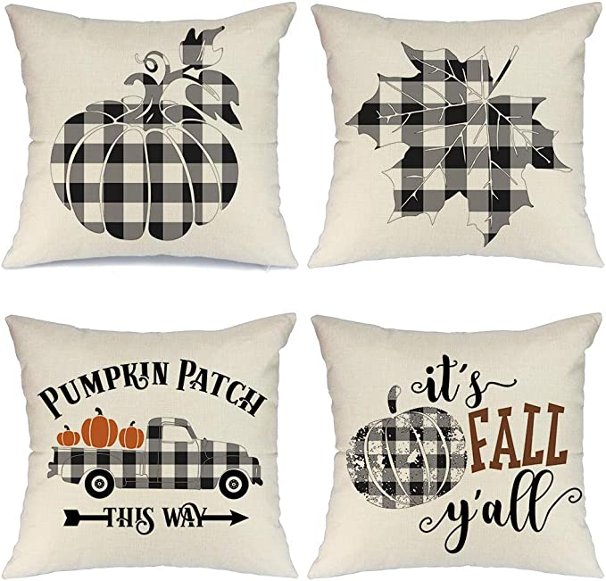 Amazon Com Aeney Fall Pillow Covers 18x18 Inch Set Of 4 Buffalo Check Plaid Pumpkin Throw Pillows For Fall Thanksgiving Decor Farmhouse Fall Decorations Decorative Pillows Home Kitchen