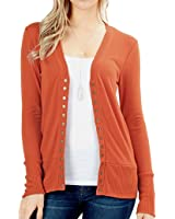 ClothingAve.... Women's Snap Button Sweater Cardigan with Ribbed Detail