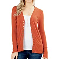 ClothingAve..... Women's Snap Button Sweater Cardigan with Ribbed Detail