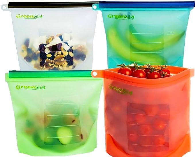 Bolsas reutilizables de silicona GreenSil, respetuosas con el medioambiente, con cierre hermético, versátiles para conservación, congelación y cocción de ...