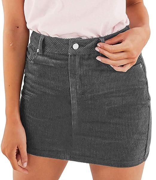 078caa9ee Angelegant Corduroy Skirt Women's High Waisted Fringed Slim Fit Elastic  Bodycon Short Mini Skirt (XS
