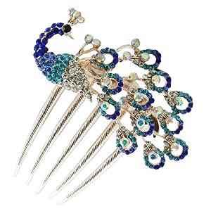 Wedding Bridal Headpiece Rhinestone Hair Comb Women Peacock Hair Clip Side Comb