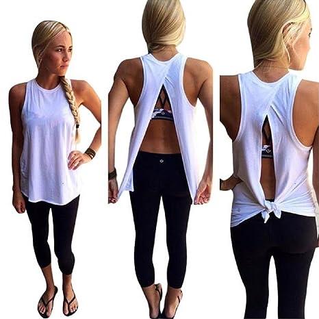 Susenstone 2016 Moda mujer verano chaleco blusa sin mangas Top Casual blusas camisetas (S)