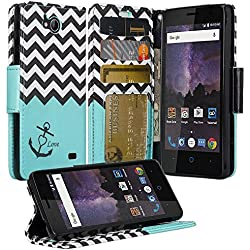 ZTE Majesty Pro Case, ZTE Tempo Case, Luxury PU Wrist Strap Leather Wallet Flip Protective Case Cover with Card Slots and Stand for ZTE Majesty Pro Z799VL / ZTE Tempo N9131 - (Teal Anchor)