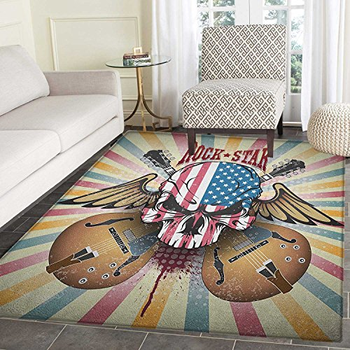 Guitar Rugs for Bedroom Retro Style Composition Angry Skull