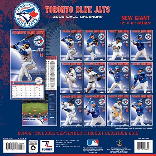 Turner Toronto Blue Jays 2016 Team Wall Calendar, September 2015 - December 2016, 12 x 12