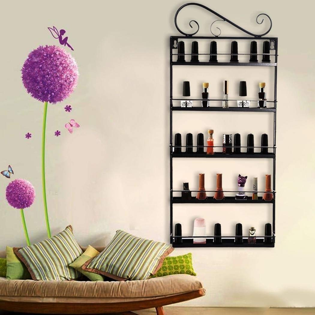 5 Tier Nail Polish Rack, Multi-Purpose Wall Mounted Organizer Display Shelf for 50 Nail Polishes at Home Business Spa Salon