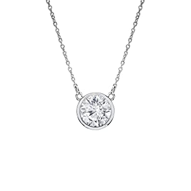 18e0c5416a4a6 Diamond Wish 14k White Gold Round Solitaire Diamond Pendant Necklace  (1/5-1cttw, Good, I1-I2) Bezel-Set with 18-inch Cable Chain