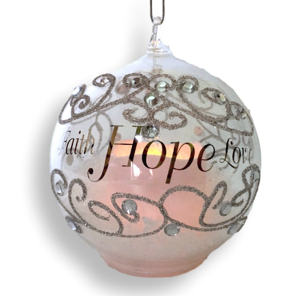 Banberry Designs Faith Hope Love Light Up Ornament - LED Glass Christmas Ornament with Silver Glitter and Gems
