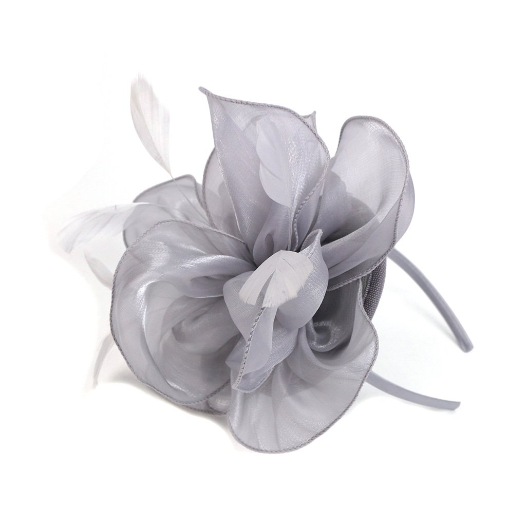 LATIMOON Derby Fascinator Hat Feather Cocktail Tea Party Headwear Dress Accessories Hair Clip for Women and Girls-Gray